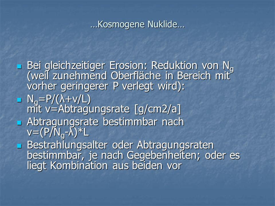 Ng=P/(λ+v/L) mit v=Abtragungsrate [g/cm2/a]